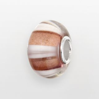 Individuality Beads Sterling Silver Purple and White Stripe Glass Bead