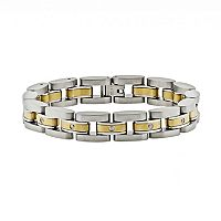 LYNX Stainless Steel Two Tone 1/10 ctT.W. Diamond Bracelet - Men