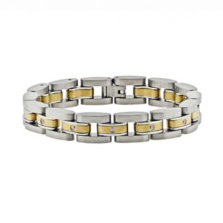 LYNX Stainless Steel Two Tone 1/10-ct. T.W. Diamond Bracelet - Men