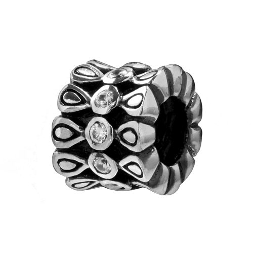 Individuality Beads Sterling Silver Cubic Zirconia Oxidized Round Spacer Bead