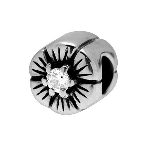Individuality Beads Sterling Silver Cubic Zirconia Flower Bead