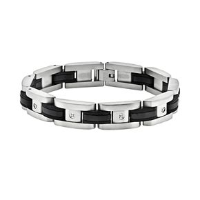 LYNX Stainless Steel Black Ion 1/10-ct. T.W. Diamond Bracelet - Men