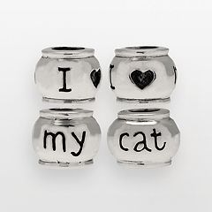 Individuality Beads Sterling Silver 'I Love My Cat' Bead