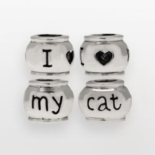 Individuality Beads Sterling Silver I Love My Cat Bead