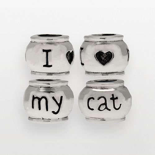 "Individuality Beads Sterling Silver ""I Love My Cat"" Bead"
