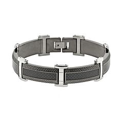 LYNX Stainless Steel Black Ion & Carbon Fiber Bracelet - Men