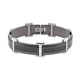 LYNX Stainless Steel Black Ion & Carbon Fiber Bracelet - Men