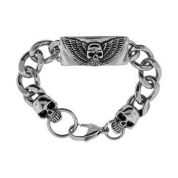 LYNX Stainless Steel and Black Ion Winged Skull Bracelet - Men