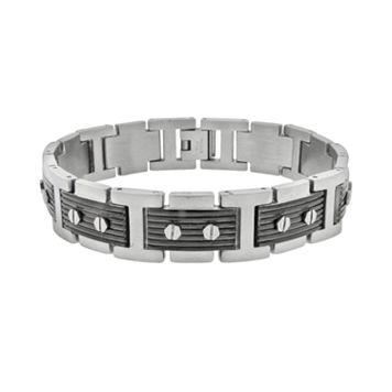 Stainless Steel Black Ion Ribbed Bracelet - Men