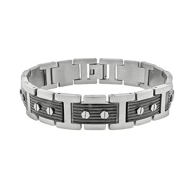 Stainless Steel Black Ion Ribbed Bracelet - Men