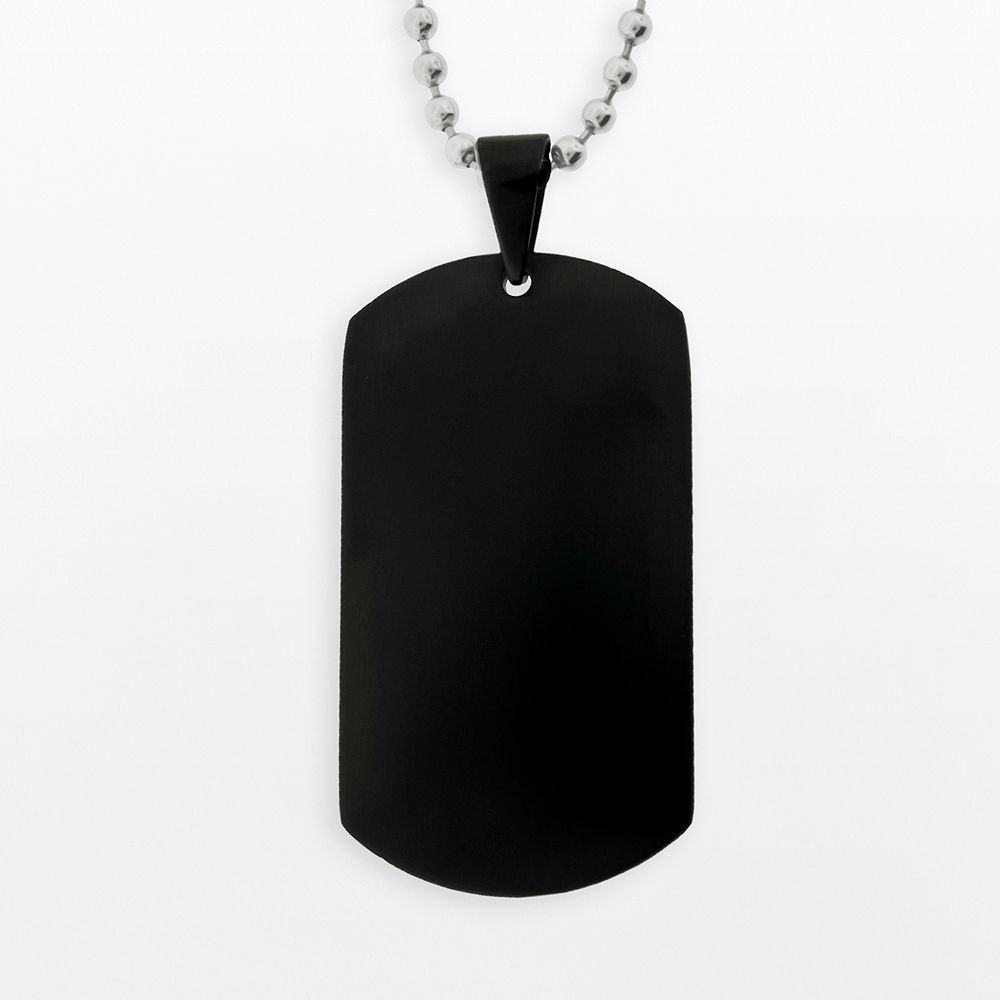 LYNX Stainless Steel Black Ion Dog Tag - Men