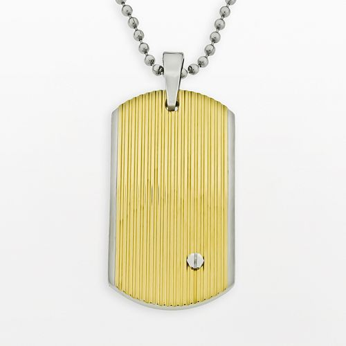 LYNX Stainless Steel Two Tone Grooved Dog Tag - Men