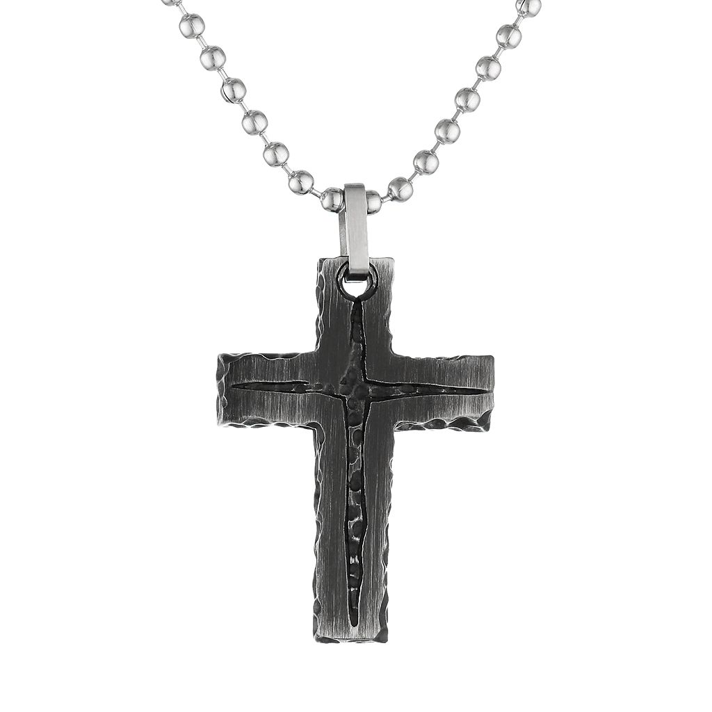 LYNX Black Ion-Plated Stainless Steel Textured Cross Pendant Necklace - Men