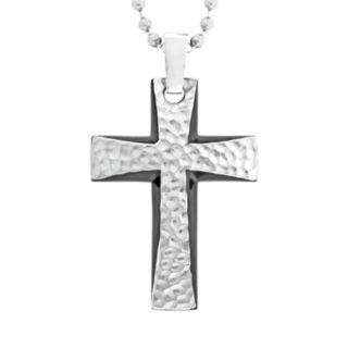 LYNX Stainless Steel Black Ion Hammered Cross Pendant - Men