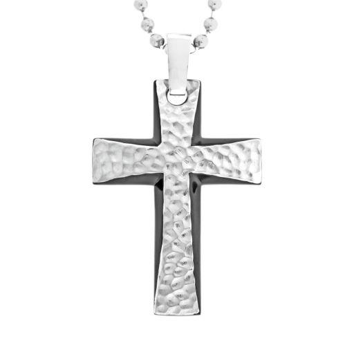 LYNX Stainless Steel Black Ion Hammered Cross Pendant - Men