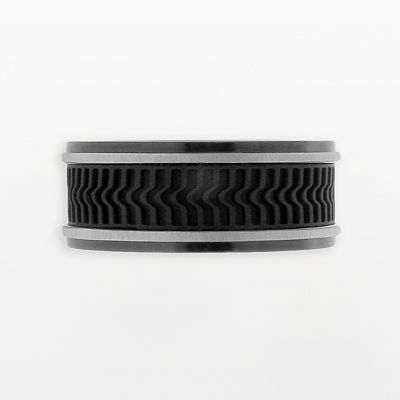 Stainless Steel Black Ion Textured Band - Men