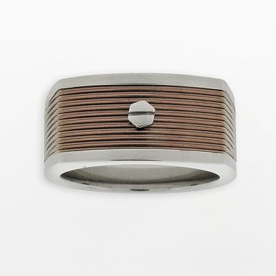 Stainless Steel Brown Ion Grooved Ring - Men