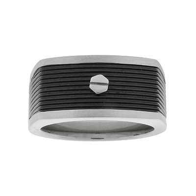 Stainless Steel Black Ion Grooved Ring - Men