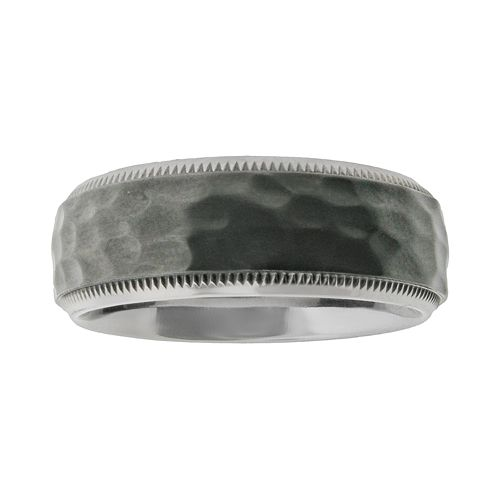 LYNX Stainless Steel Black Ion Hammered Wedding Band - Men