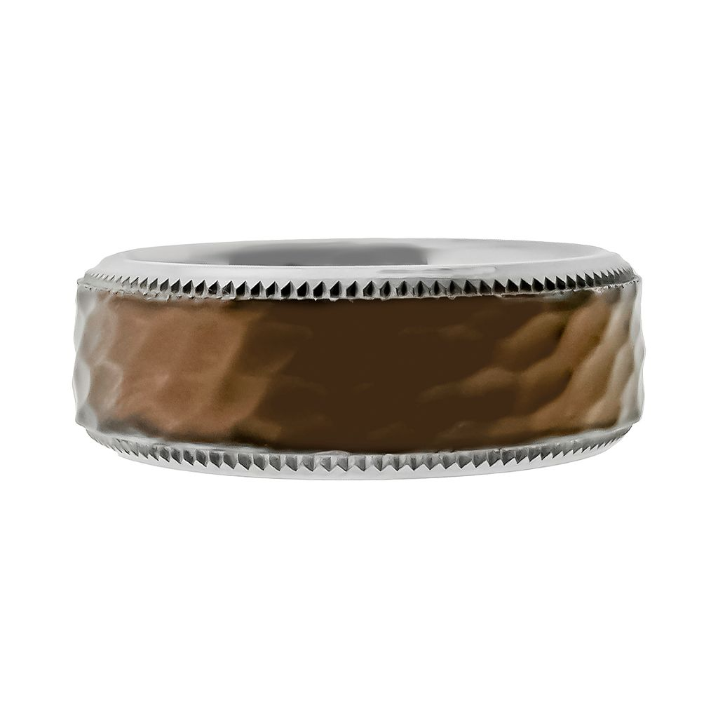 LYNX Stainless Steel Brown Ion Hammered Wedding Band - Men