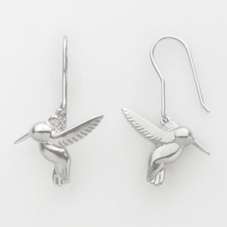 Jewelry for Trees Platinum Over Silver Hummingbird Drop Earrings