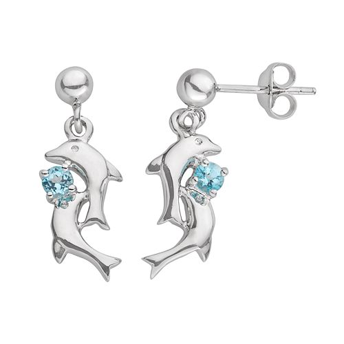 Jewelry for Trees Platinum Over Silver Blue Cubic Zirconia Dolphin Stud Earrings
