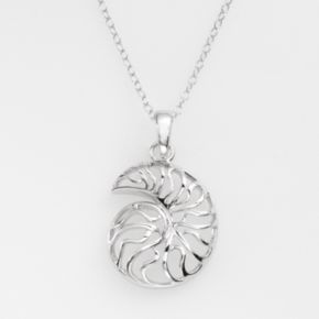 Jewelry for Trees Platinum Over Silver Seashell Pendant