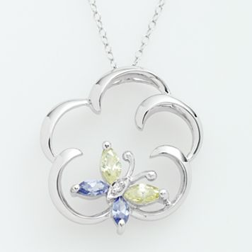 Jewelry for Trees Platinum Over Silver Cubic Zirconia Butterfly Pendant