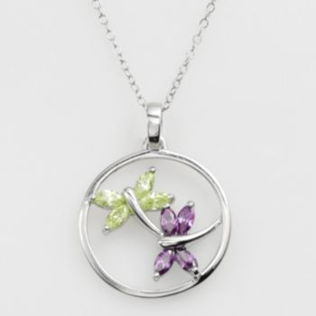 Jewelry for Trees Platinum Over Silver Cubic Zirconia Dragonfly Pendant