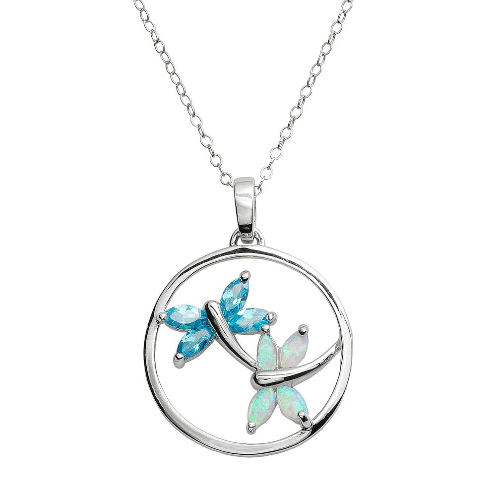 Jewelry for Trees Platinum Over Silver Cubic Zirconia & Lab-Created Opal Dragonfly Pendant