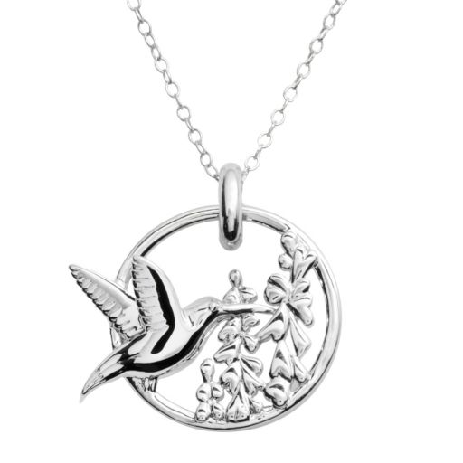 Jewelry for Trees Platinum Over Silver Hummingbird Pendant