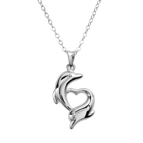 Jewelry for Trees Platinum Over Silver Dolphin Pendant