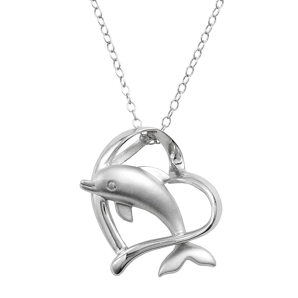 sterling necklace pendant silver dolphin