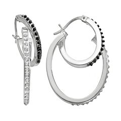 Diamond Mystique Platinum Over Silver Two Tone Diamond Accent Hoop Earrings