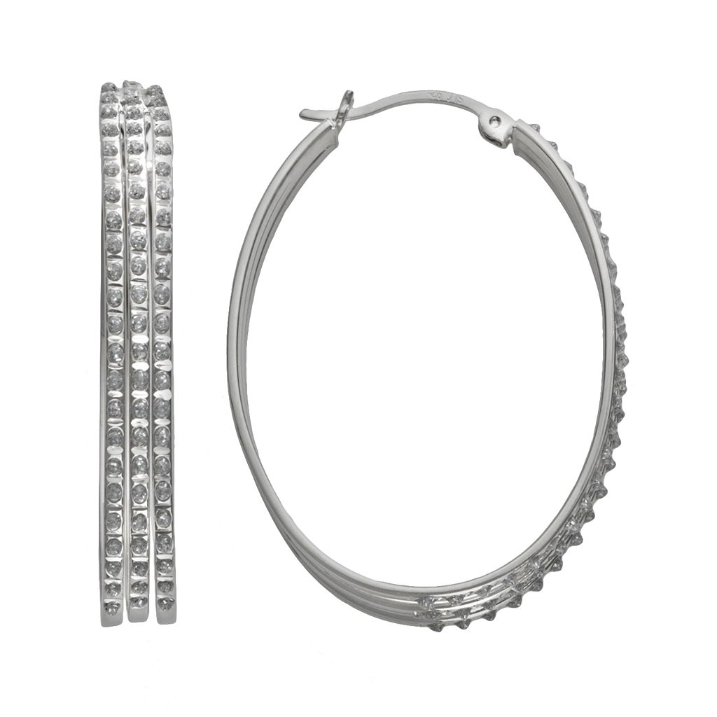 Diamond Mystique Platinum Over Silver Diamond Accent Oval Hoop Earrings