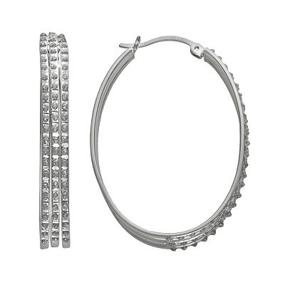 Diamond Mystique Platinum Over Silver Diamond Accent Oval Hoop Earrings