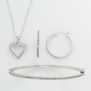 Diamond Mystique Platinum Over Silver Diamond Accent 3-pc. Pendant, Earring and Bracelet Set