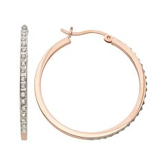 Diamond Mystique 18k Rose Gold Over Silver Diamond Accent Hoop Earrings
