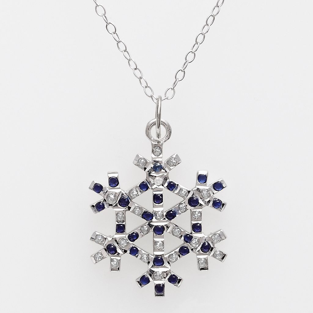 Platinum Over Silver Sapphire & Diamond Accent Pendant