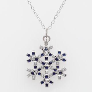 Platinum Over Silver Sapphire and Diamond Accent Pendant