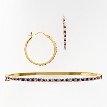18k Gold Over Silver Ruby & Diamond Accent Bracelet & Earring Set