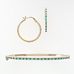 18k Gold Over Silver Emerald & Diamond Accent Bracelet & Earring Set