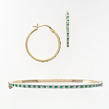 18k Gold Over Silver Emerald & Diamond Accent Bracelet & Earring Set