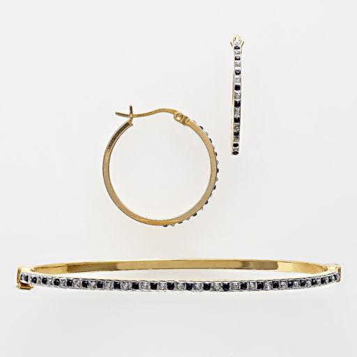 18k Gold Over Silver Sapphire and Diamond Accent Bracelet and Earring Set
