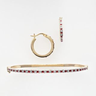 18k Gold Over Silver Ruby and Diamond Accent Bracelet and Earring Set