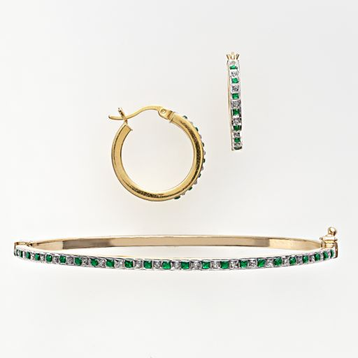 18k Gold Over Silver Emerald & Diamond Accent Bangle Bracelet & Hoop Earring Set