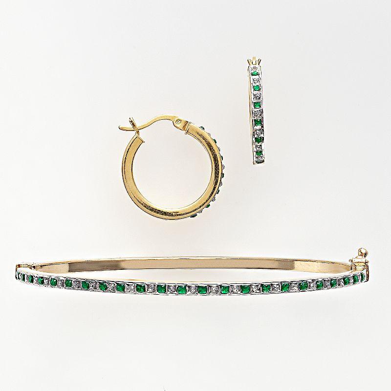 18k Gold Over Silver Emerald & Diamond Accent Bangle Bracelet & Hoop Earring Set, Women's, Green