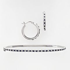Platinum Over Silver Sapphire & Diamond Accent Bracelet & Earring Set