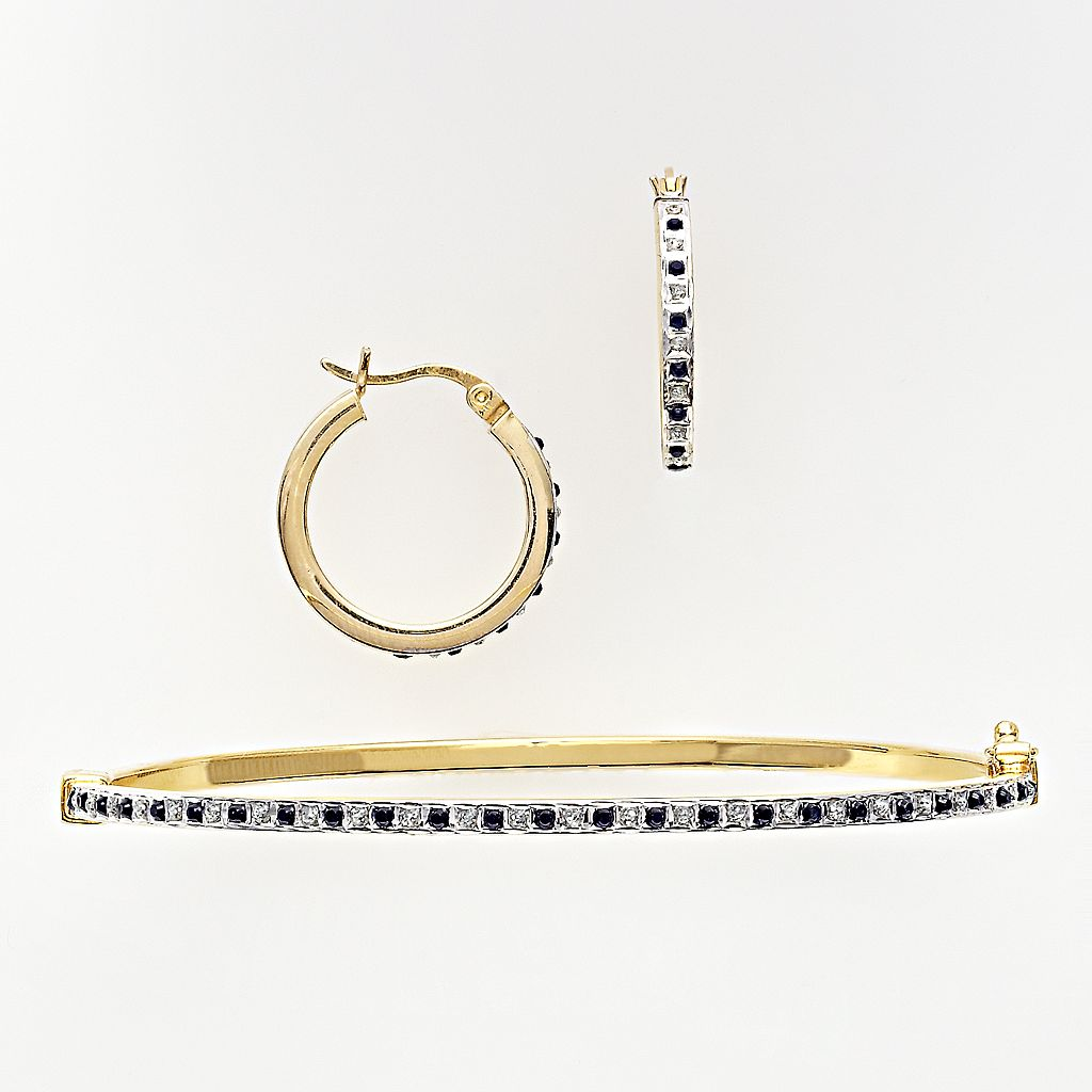18k Gold Over Silver Sapphire & Diamond Accent Bracelet & Earring Set