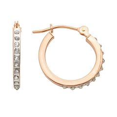 Diamond Fascination 14k Rose Gold Diamond Accent Hoop Earrings